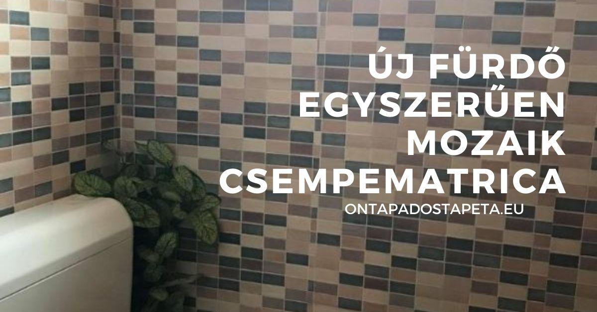Barna bézs mozaik öntapadós tapéta